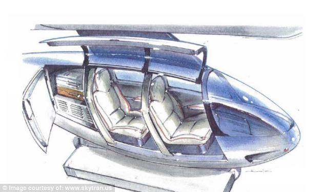 Magnetic appeal? Instead of an engine, the pods (an illustration of the possible interior is pictured) will use a magnetic field created by electrified coils in the track to allow them to hover and propel them along