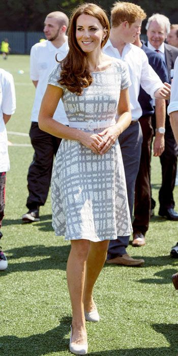 Kate Middleton wearing Hobbs grey check dress