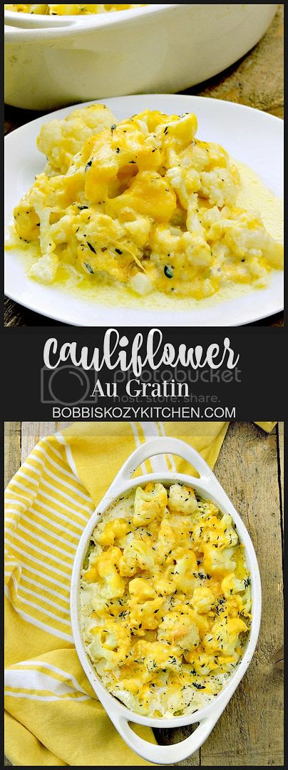 Cauliflower Au Gratin - Tender cauliflower is perfect in this classic side dish. It is so good you won't even miss the potatoes! From www.bobbiskozykitchen.com