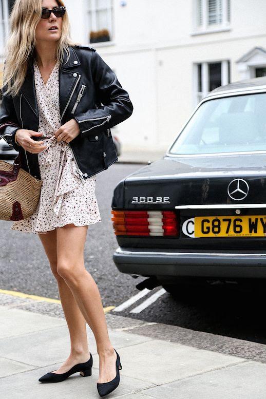 Le Fashion Blog Lucy Williams Moto Jacket Floral Dress Black Block Heels Via Fashion Me Now p