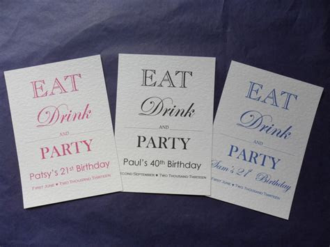 Eat, Drink and Party Invitationsthday Invitations, 18th