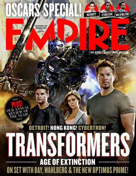 Optimus Prime, Jack Reynor, Nicola Peltz and Mark Wahlberg will grace the cover of Empire magazine's January 2014 issue...which features an article on TRANSFORMERS: AGE OF EXTINCTION.