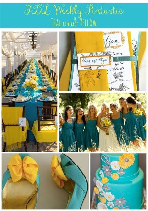 teal and yellow wedding, bright wedding colors, wedding