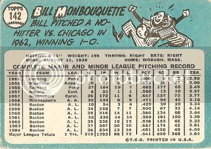 #142 Bill Monbouquette (back)