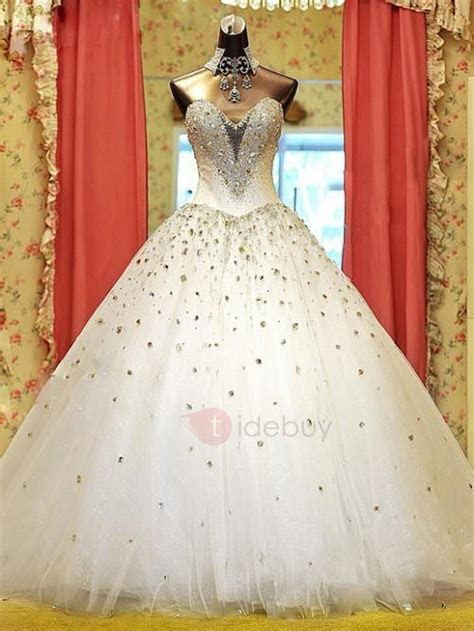 Luxury Rhinestone Beaded Sweetheart Ball Gown Wedding