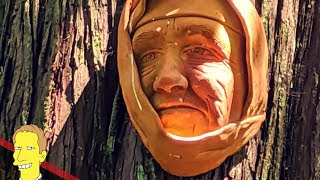 porcelain mask of old woman at Spirit Trail in Harrison Hot Springs