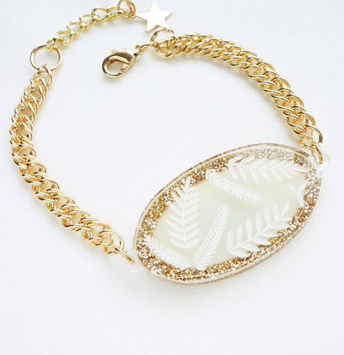 Gold Glitter Swan Bracelet - Back
