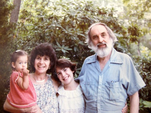 my granparents with my little sister and me