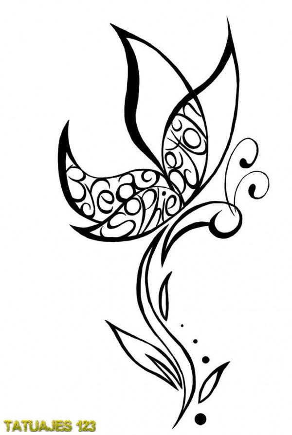 Tatuaje De Mariposa Con Nombres Tatuajes 123