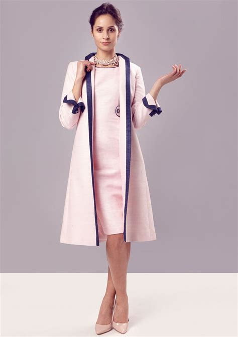 Dress coat in petal pink/navy raw silk tussah   Lorna