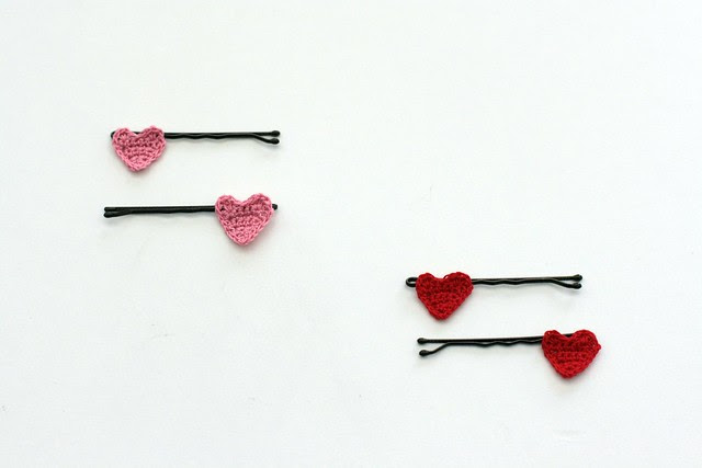 crochet heart hair pins