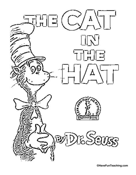 cat   hat coloring page  fun teaching