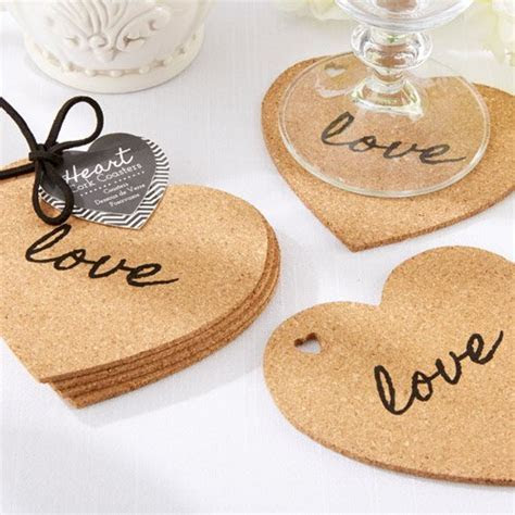 unique personalized affordable cork coaster wedding favors
