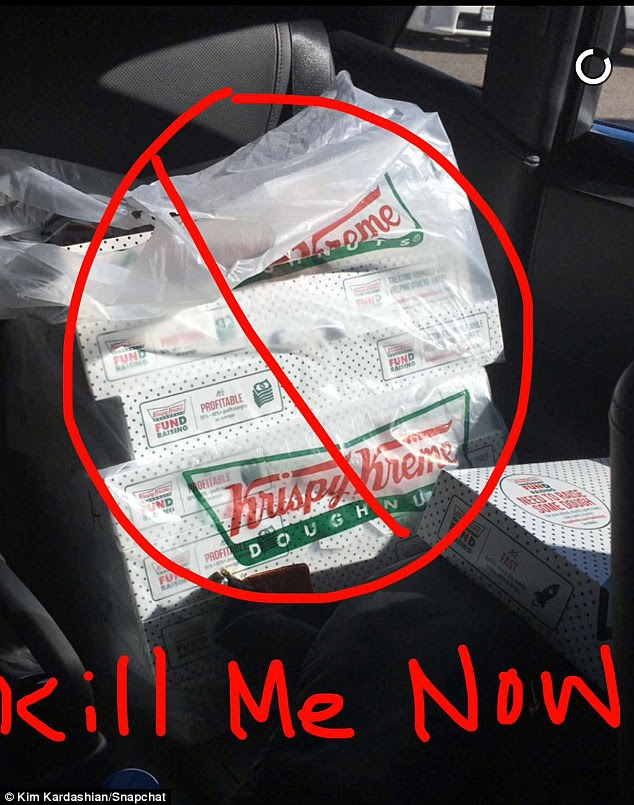 'Kill me now!' Kim isn't going to be eating the donuts herself, despite delivering them, as she is on the low carb Atkins plan
