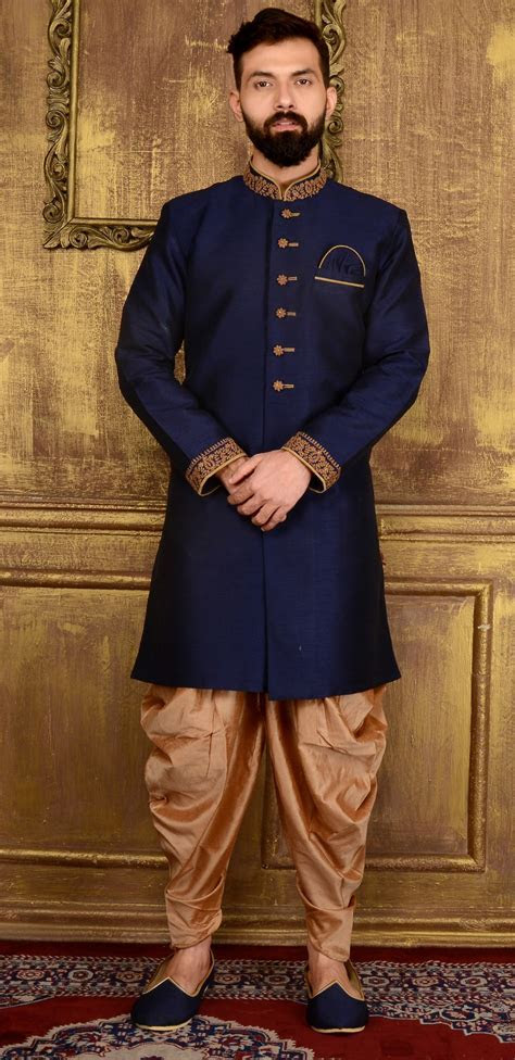 Blue Art Banarasi Silk Mens Indo western