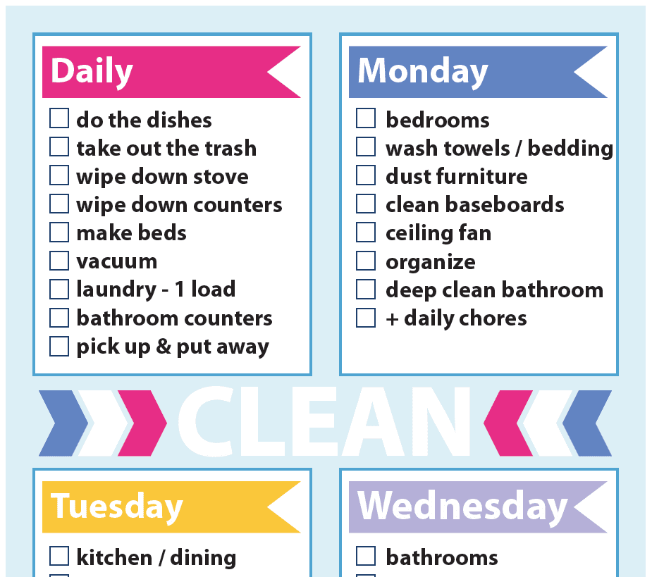 Cleaning Schedule - Sweet Paper Trail