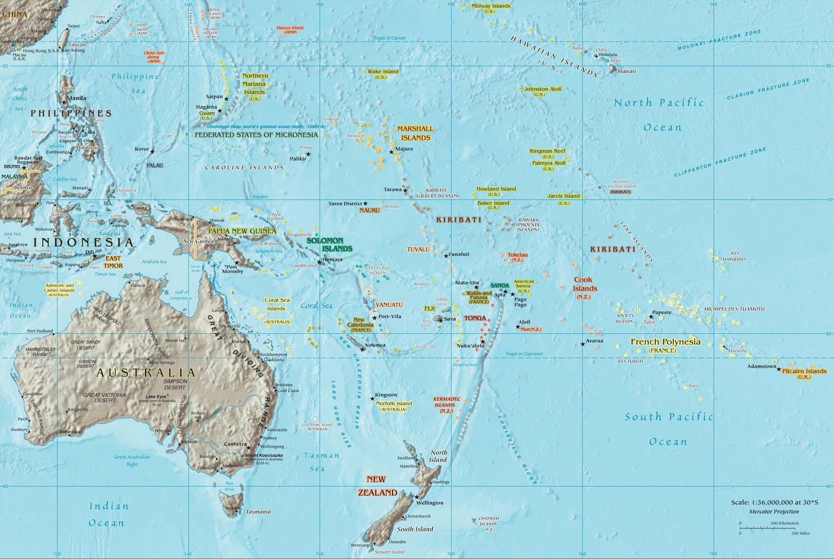 South Pacific Islands Surf Trip Destintions Map