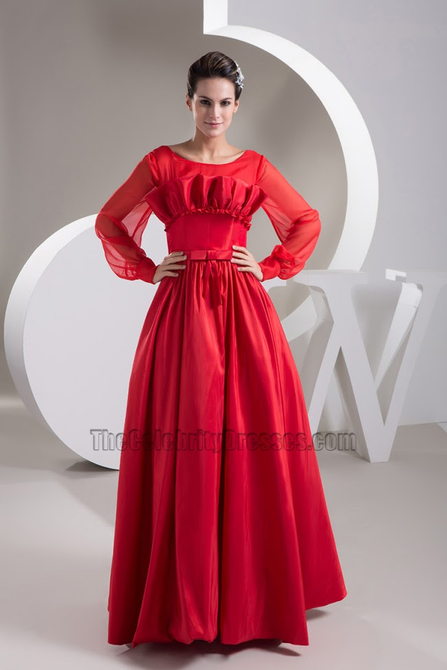 Red evening dress long sleeve