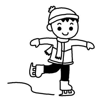 スケート1冬のスポーツ冬の季節行事無料白黒イラスト素材