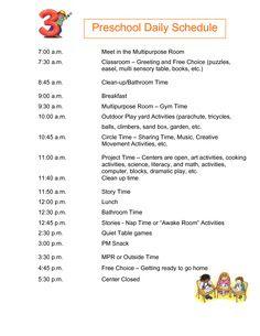 Preschool Daily Schedule Examples | Daily Agenda Calendar