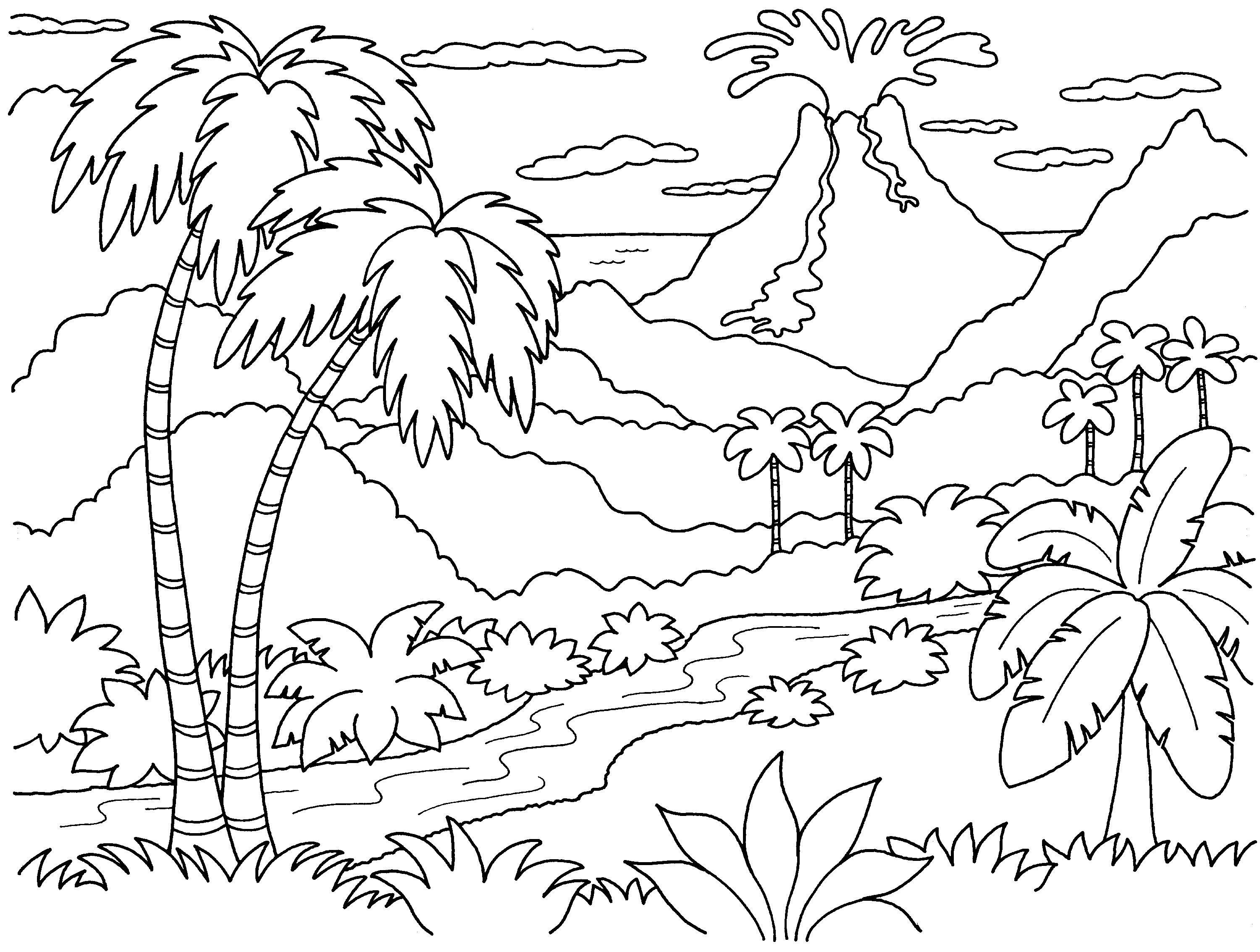 830 Coloring Pages For Adults Landscapes Pictures