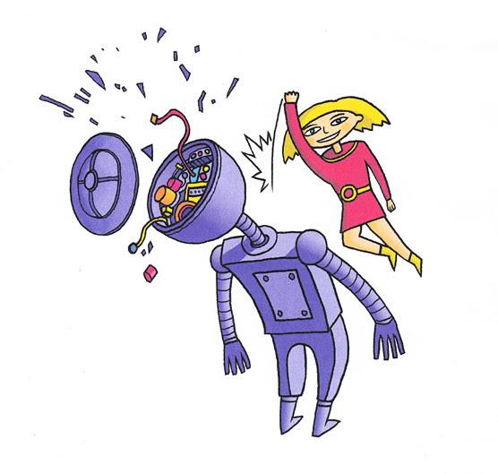 girl smash robot