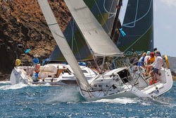 J/109 sailing upwind at Antigua