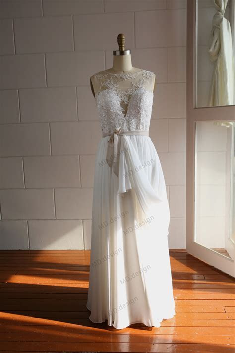Lace Chiffon Wedding Dress Bridal Gown See Through By