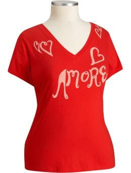 Women's Plus: Women's Plus Love Graphic Tees - Radiant Red
