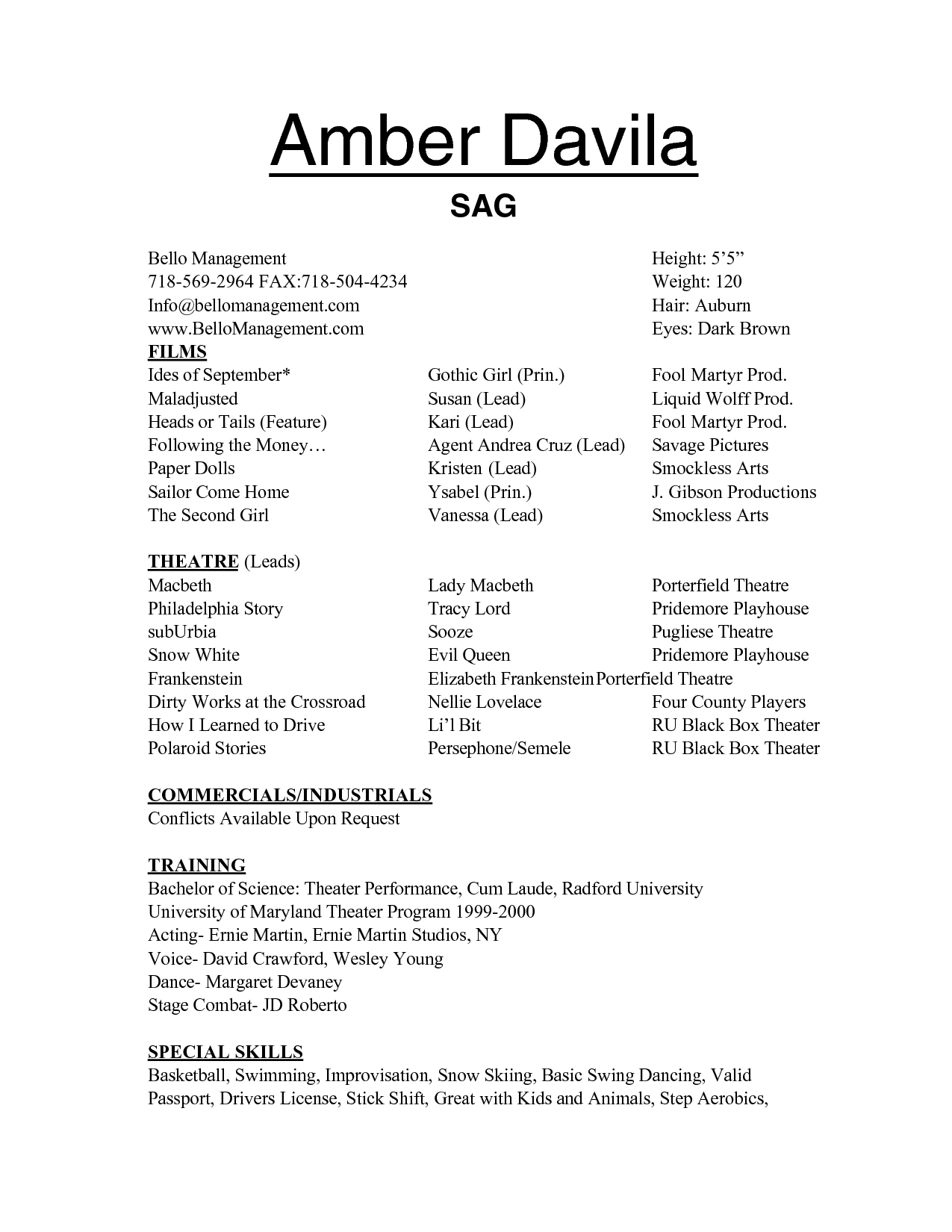 25 Awesome Acting Resume Template Best Resume Examples