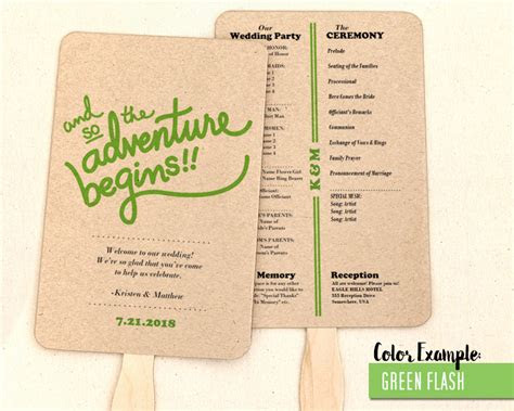 adventure begins wedding program fan cool colors