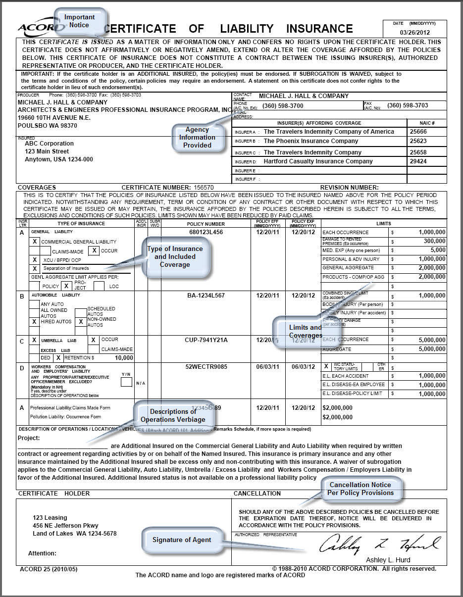 Certificate Of Insurance - certificates templates free
