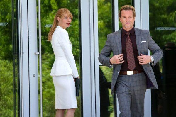 Pepper Potts (Gwyneth Paltrow) is unaware of Aldrich Killian's (Guy Pearce) true intentions in IRON MAN 3.