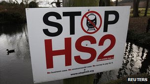 Sign in Little Missenden, Buckinghamshire, protesting against HS2