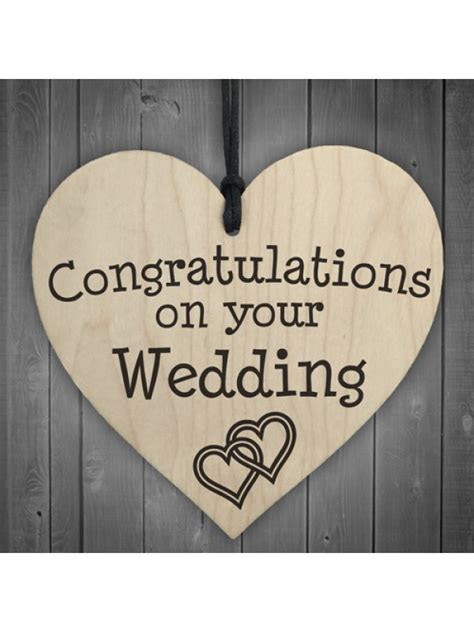 Congratulations On Your Wedding Wooden Hanging Heart Plaque
