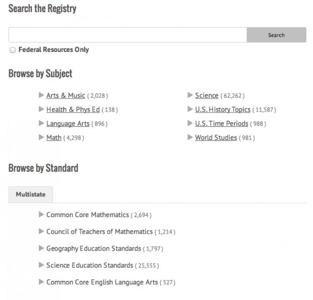 Фрагмент интерфейса сайта Learning Registry