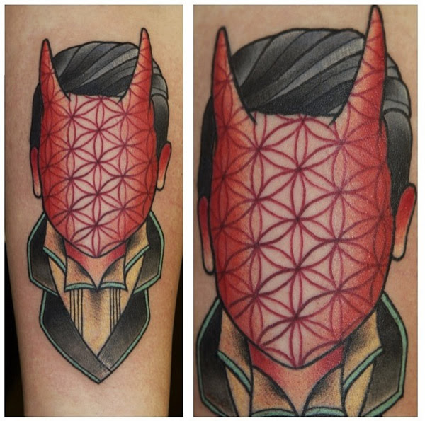 Texture Devil Face New School Tattoo By Last Angels Tattoo Best