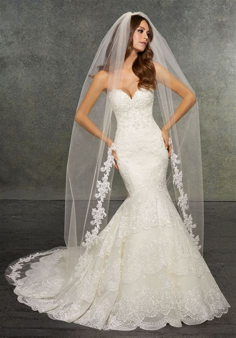 Veil Edged with Lace, Beaded with Pearls, Rhinestones, and