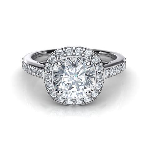 Cushion Cut Halo Diamond Engagement Ring Natalie Diamonds