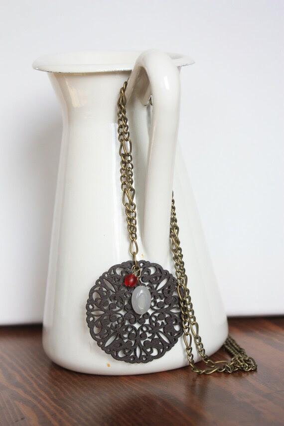 Long Wooden Lace Pendant Necklace
