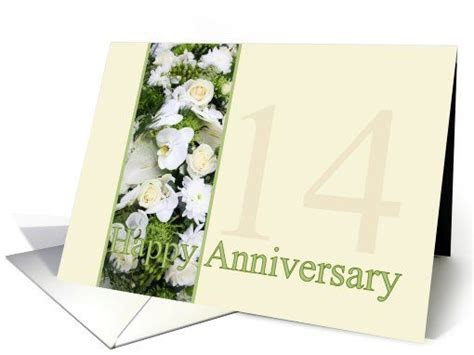 14th Wedding Anniversary White mixed bouquet card   My