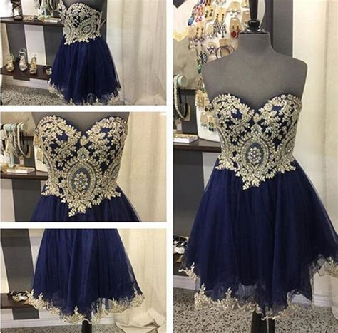 Navy Blue 2018 Homecoming Dresses Gold Lace Short Party
