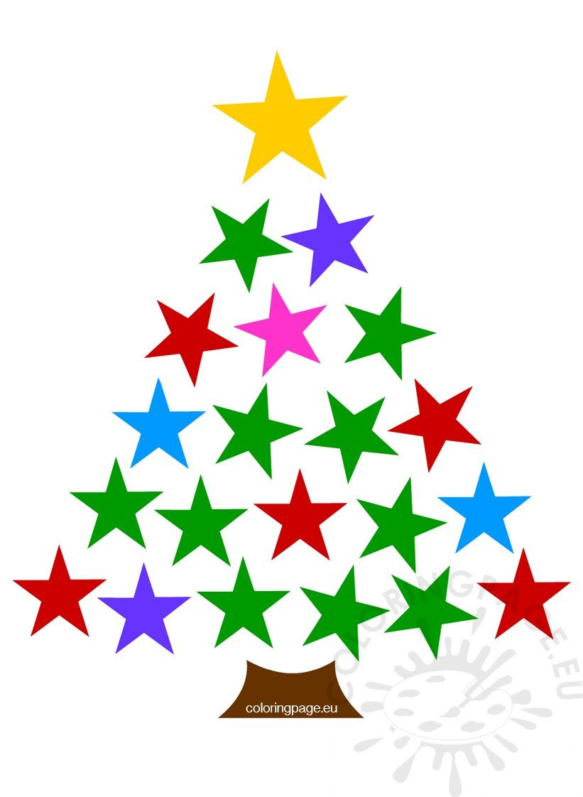 Colored stars christmas tree clipart - Coloring Page