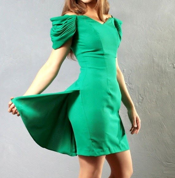 Vintage Fancy EMERALD green fitted MINI  sculptured PARTY dress, size Small, S
