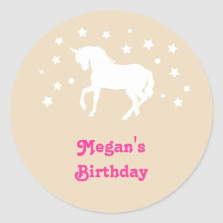 Elegant Unicorn Birthday Favor Sticker