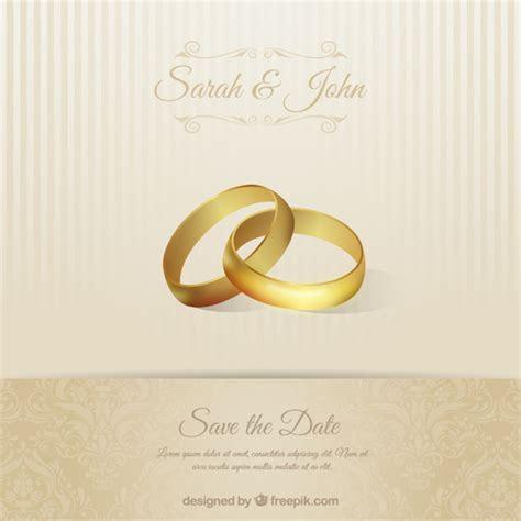 Tarjeta de invitación de boda con anillos   Descargar