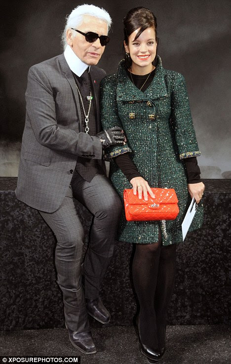 Smiling again Lily Allen poses up with Chanel designer Karl Lagerfeld at