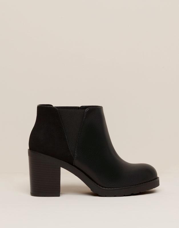 Pull&Bear - mujer - zapatos mujer - botín tacón elástico - negro - 11095111-V2016