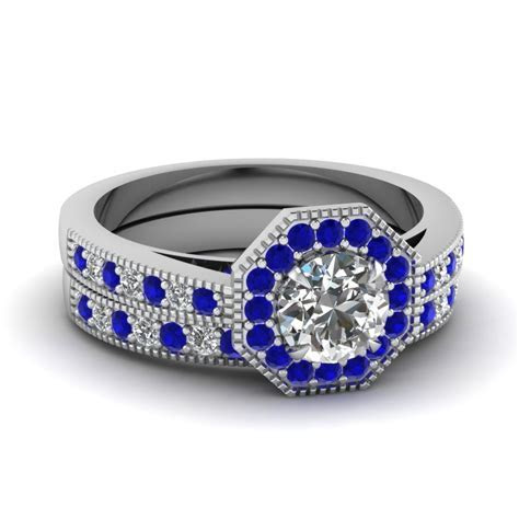 Octagon Diamond Vintage Wedding Ring Set With Sapphire In