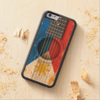 Filipino Flag on Old Acoustic Guitar Carved® Maple iPhone 6 Bumper